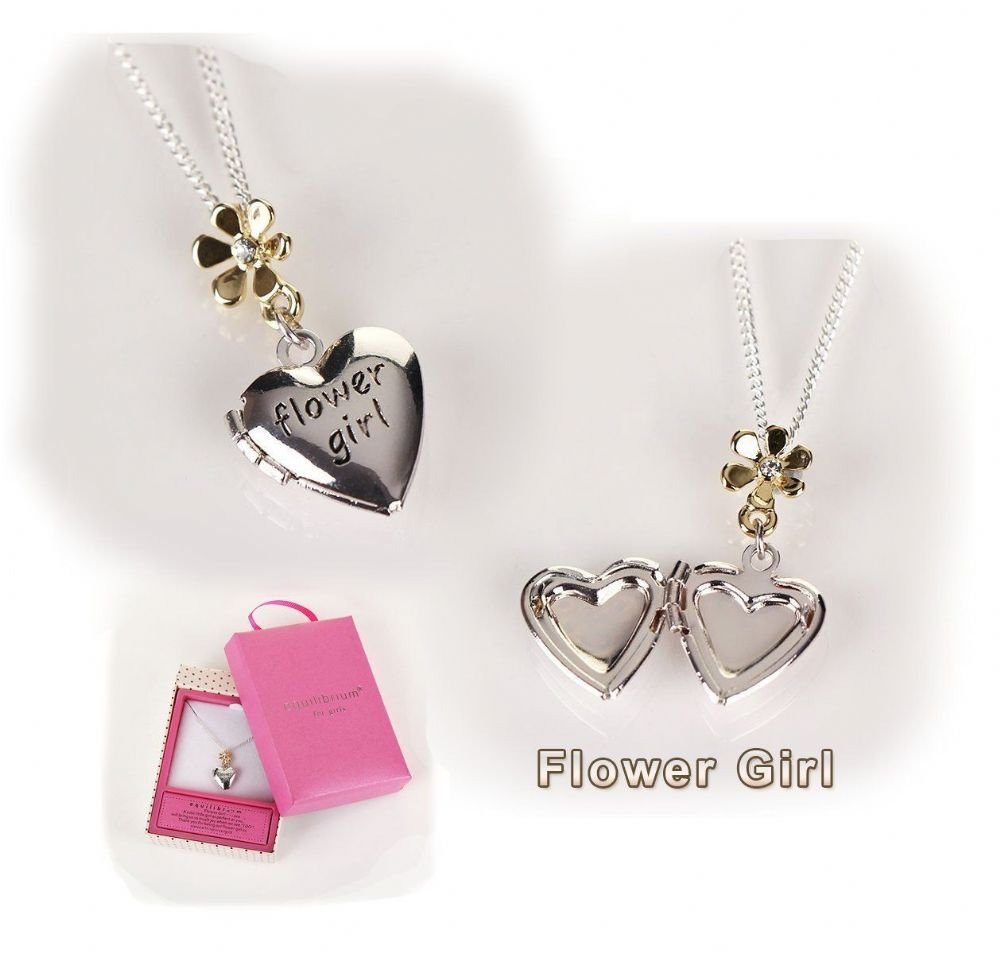 Flower girl pendant necklace for wedding day bridal gift boxed aloadofball Images